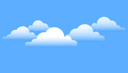 Creative white clouds over blue sky background. Vector Illustration Illustration