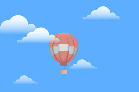 Hot air balloon with white clouds on blue sky. Retro style - effect shadow. Vector illustration