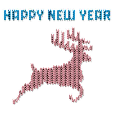 Knitted deer and Inscription Happy New Year.  Template for Christmas calendar, postcards, flyers. All elements separate and editable. Vector illustration Illustration