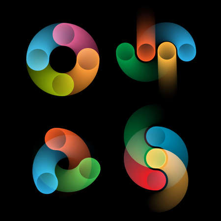 Set of abstract rounded shapes