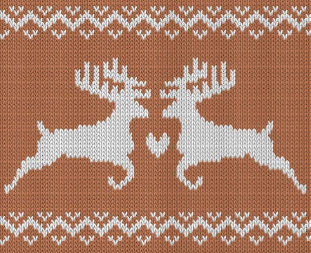 Knitting pattern with two deers and heart. Norwegian ornament. All elements separate and editable. Vector  background