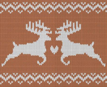 tejido de lana: patrón de tejer con dos ciervos y el corazón. ornamento noruego. Todos los elementos por separado y editable. fondo del vector