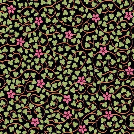 花が咲くと葉黒花のシームレスなパターン。花でスタイリッシュな壁紙。ベクトルの背景