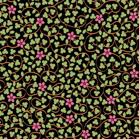 Floral seamless pattern with blooming flowers and leaves on black. Stylish wallpaper with flowers. Vector background