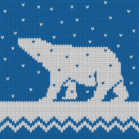 Knitted Winter Blue Seamless Pattern With Polar Bear With Snow