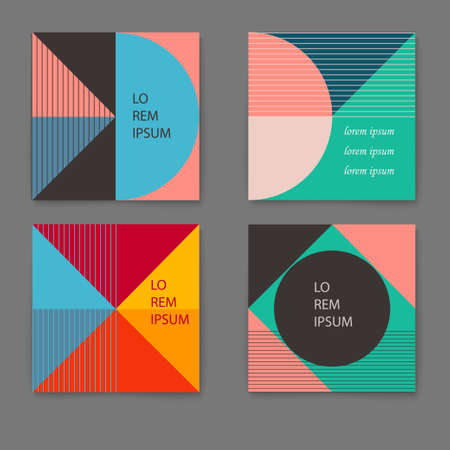 Vector set of trendy retro cards with geometric shapes. Template layout, cover design, poster, flyer Illustration
