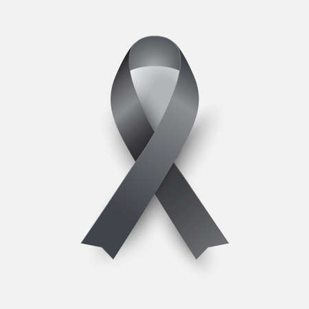 Black awareness ribbon - concept melanoma symbol. Mourning sign. Vector illustration Ilustração