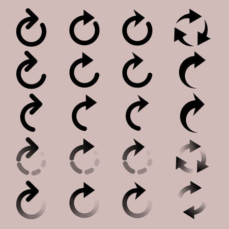 designator: Set of  rounded arrow simple icons. Modern pictogram minimal, flat,monochrome, plain, contemporary style. Vector elements for design interface Illustration