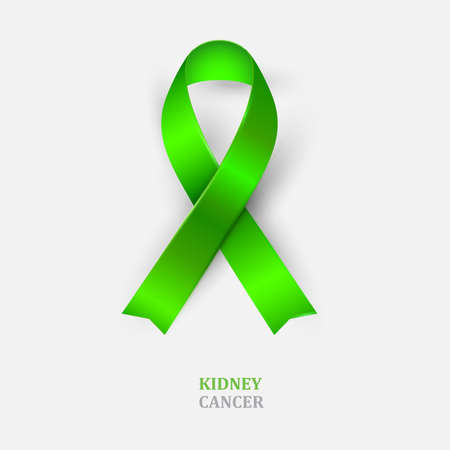 Green ribbon - Kidney cancer awareness. Mental health,Scoliosis awareness symbol. Vector illustration