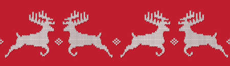 Red knitted Christmas seamless pattern with deers. Norwegian ornament. All elements separate and editable. Vector background