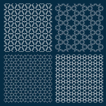 beige: Set of four arabic geometric patterns with stars. Islamic ornament wallpaper. Vector background