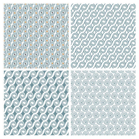 retro patterns: Set of four delicate seamless elegant patterns with swirls. Abstract seamless ornament retro style.  Vector background Illustration