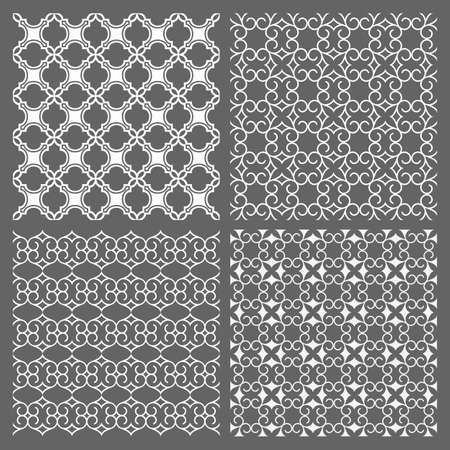 traditional pattern: Set of four seamless patterns  in arabic style. Islamic ornament wallpaper. Vector background Illustration