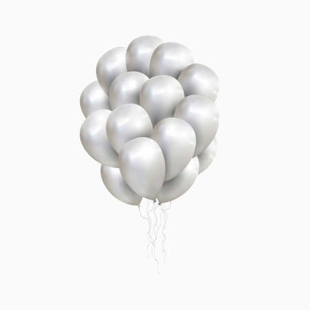 Vector isolated sheaf of silver balloons. Realistic balloons illustration for party, celebration design decoration. Editable elements with gradient mesh Illustration