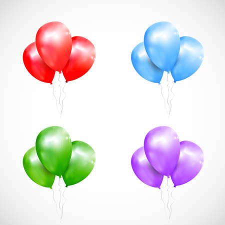 Vector set of isolated sheaf colored balloons. Realistic balloons illustration for party, celebration design decoration. Editable elements with gradient mesh and clipping mask Illustration