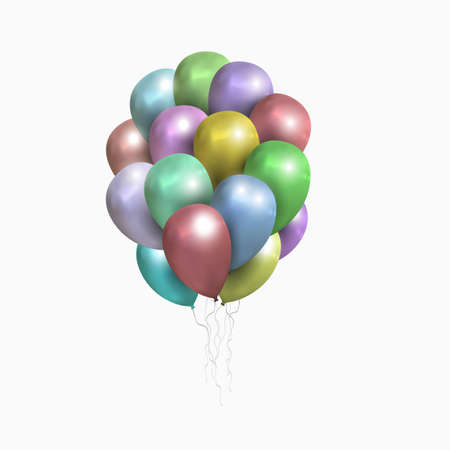 clipping mask: . Realistic balloons illustration for party, celebration design decoration. Editable elements with gradient mesh and clipping mask