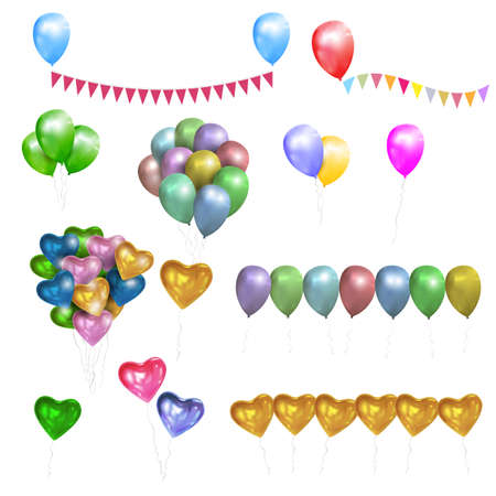 Vector set of color glossy Balloons,Hearts and bunting flags. Design elements for party, birthday, Valentine day Illustration