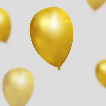 christmas gold: Festive vector background with gold balloons. Realistic balloons illustration for party, celebration design decoration. Editable elements with gradient mesh and clipping mask
