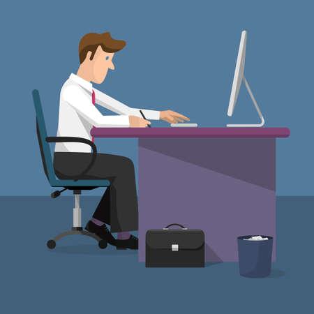 Vector illustration of businessman working on computer. Monitor computer, office desk,case. Cartoon flat style template Illustration