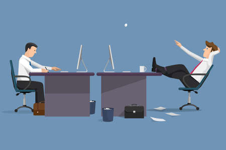 Funny vector illustration two managers in office. Concept of office life. Cartoon flat style character