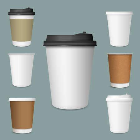 Set realistico di tazze di caffè in carta. Collezione 3d Coffee Cup Mockup. Modello vettoriale
