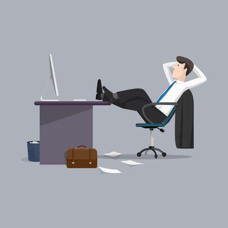 Vector illustration businessman relaxing between work. Concept of office life. Cartoon flat style character