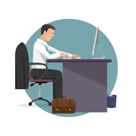 working desk: Vector illustration of manager working on computer. Monitor computer, office desk,case,suit. Cartoon flat style template