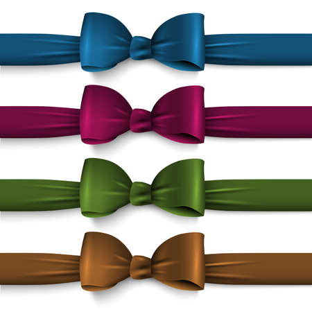 Collection dark colors silk bows with ribbons. Vector Set elements for design