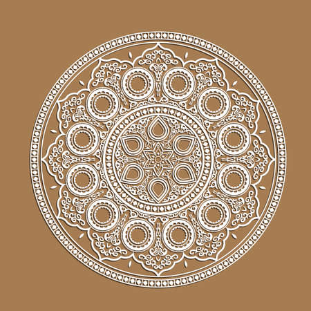 lazer: Indian Mandala - cut out paper cards with lace pattern. Decorative ornate geometric card for laser cutting.Vector illustration for greeting card, postcard, invitation, poster, banner etc