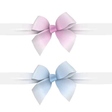 Pink and blue pastel colors bows with ribbons. Vector set elements for design
