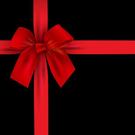 Arco rosso realistico con nastro isolato su fondo nero. Elemento di disegno per regali di decorazione, saluti, feste. Illustrazione vettoriale Vettoriali