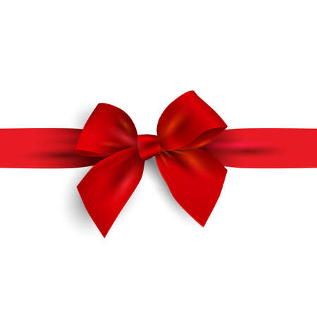 Realistic Red bow with ribbon isolated on white. Design element for decoration gifts, greetings, holidays. Vector illustration Illustration