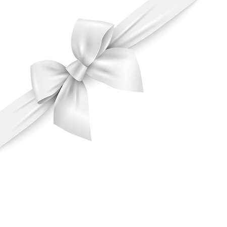 Realistic white ribbon with bow on white background. Vector decorative design element