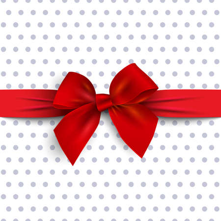 Red gift bow with ribbon on polka dot background. Design element for decoration gifts, greetings, holidays. Vector illustration
