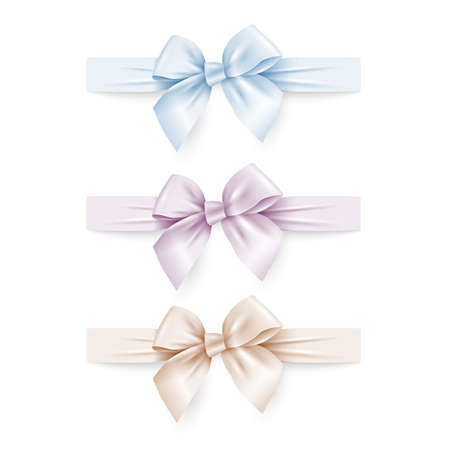 Set of pastel colors silk bows with ribbons. Vector set elements for design