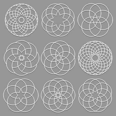 cut paper: Vector set of round elements cut out paper for arabic design. Decorative ornate geometric elements for laser cutting