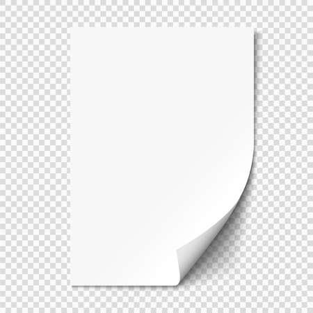 Enrollamiento de página blanca en papel de hoja vacía con sombra. Realista página doblada en blanco sobre fondo transparente. Ilustración vectorial