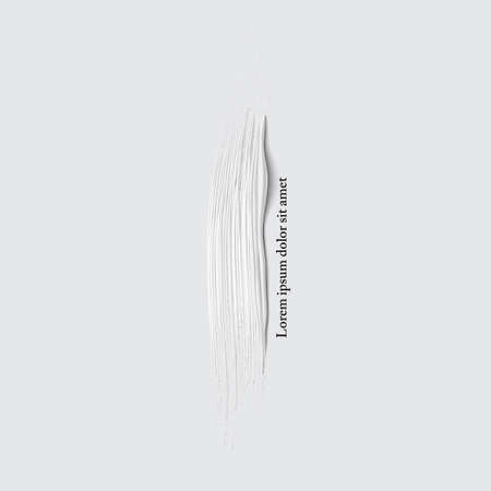 3d vector white vertical paint brush stroke. Hand drawn painted textured banner. Vector design element