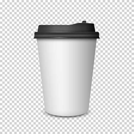 Taza de café en el fondo transparente. Maqueta de la taza de café. Plantilla de Vector Ilustración de vector