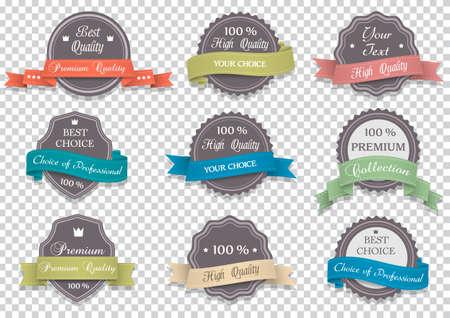 Premium Quality labels on transparent background. Vector set of design elements Illustration