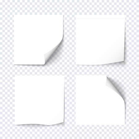 note paper: Set of white sticky on transparent background. Paper stickers, note post memo, labels. Vector design elements