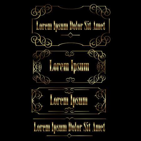 golden frames: Golden vintage calligraphic frames borders set. Retro Luxury template for design.