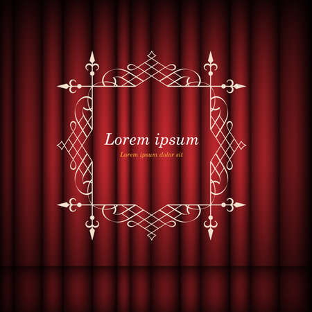 Red curtains and vintage frame with copy space for text.  Retro Luxury template for design. Flourishes Ornamental  frame. Vintage vector background Illustration