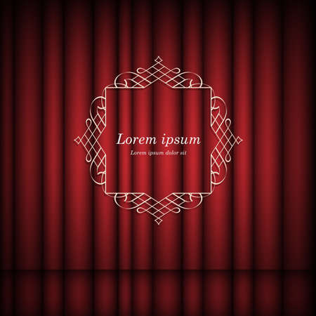 cover: Red curtains and vintage frame with space for text.  Retro Luxury template for design. Flourishes Ornamental  frame. Vintage vector background