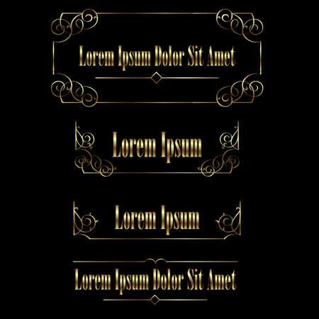 golden frames: Set of Golden vintage calligraphic frames borders. Retro Luxury template for design. Flourishes Ornamental  frame. Vintage vector elements Illustration