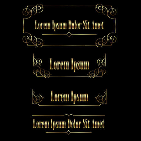 Set of Golden vintage calligraphic frames borders. Retro Luxury template for design. Flourishes Ornamental  frame. Vintage vector elements Illustration