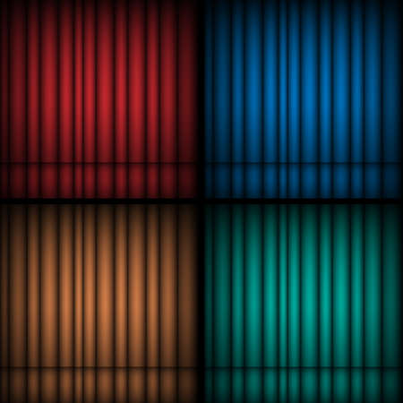 Set of realistic theatrical closed curtains. Vector backgrounds and wallpapers Illustration