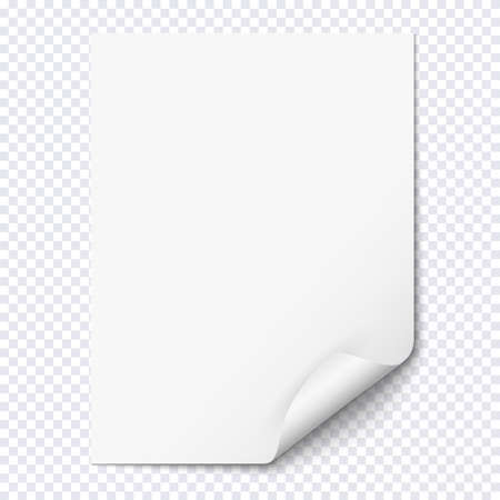 folded paper: White empty paper sheet with curled corner. Realistic blank folded page on transparent background. Vector illustration Illustration
