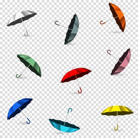Colored umbrellas on transparent background. Vector design elements
