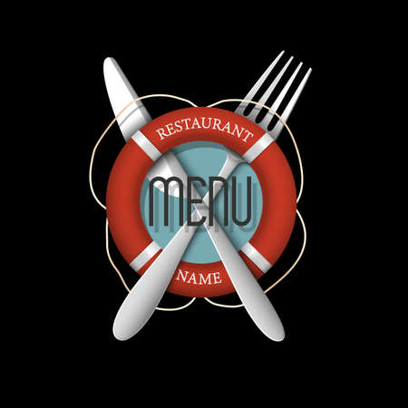 retro restaurant: 3d Retro Menu design for seafood restaurant. Vector template